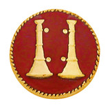 Red Enameled Double Bugle Collar Insignia Set - Gold