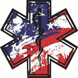 Decal - Distressed American Flag Star of Life (Window Size)