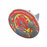 Trailer Hitch Cover - Metal American FireFighter 3D with Enamel