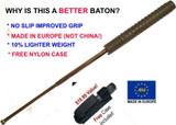 """21"""" Collapsible Baton w/ Hard Case - Chrome Finish (Made in Europe)"""