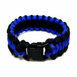 Paracord Survival Black and Royal Blue Bracelet