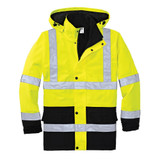 Cornerstone ANSI 107 Class 3 Waterproof Parka (Safety Yellow) - Front View Flat Lay
