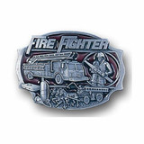Belt Buckle - Firefighter (Solid Pewter - Enameled)