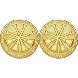 Gold 4-crossed Bugle Collar Insignia Set (15/16-inch)