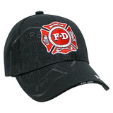 Fire Department Logo SHADOW PUFF HAT (3-D High Definition Embroidery!) (BLACK)