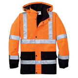 Cornerstone ANSI 107 Class 3 Waterproof Parka (Safety Orange) - Front View Flat Lay