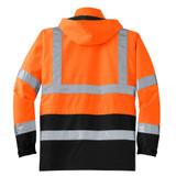 Cornerstone ANSI 107 Class 3 Waterproof Parka (Safety Orange) - Back View Flat Lay