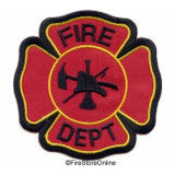 Patch - Fire Dept Maltese Cross (Black Border)