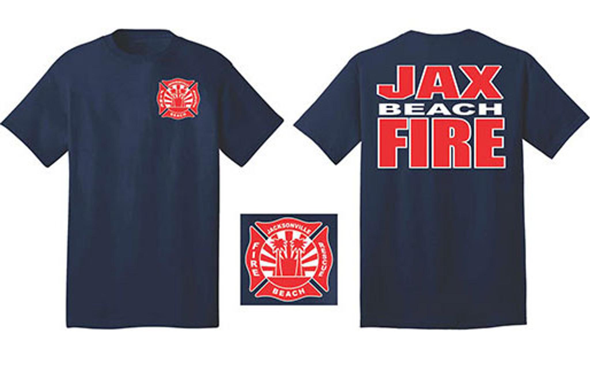 Jacksonville Beach Fire Department Duty T Shirt Navy