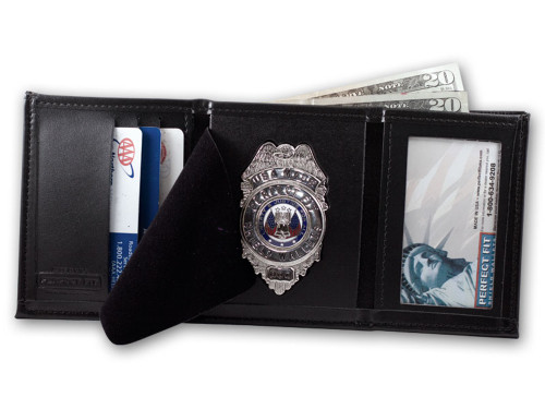Perfect Fit Trifold Badge Wallet w/ID Window (Custom Cutout)