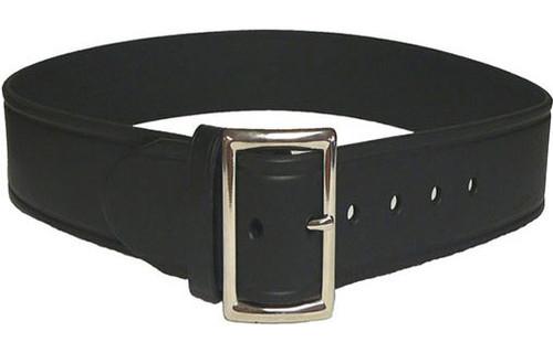 """Perfect Fit Leather 1 3/4"""" Trouser Belt (PLAIN BLACK - Chrome Buckle)"""