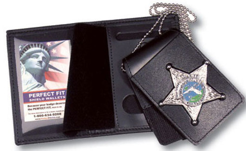 Perfect Fit 4-in-1 Leather Badge Case (Includes Belt/Neck Holders) - Custom Cutout