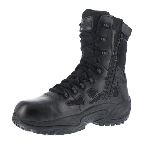 "Reebok Men's Rapid Response RB BLACK 8"" STEALTH BOOT, SIDE ZIP, COMP TOE **CLEARANCE**"
