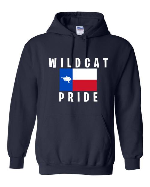 Wildcat Texas Flag Navy Hoodie