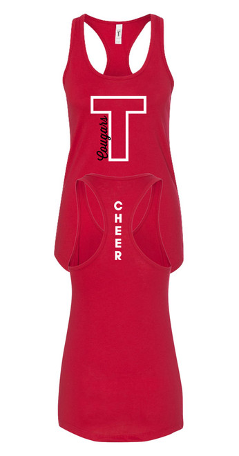 THS Cheer T Cougars Red Tank Top