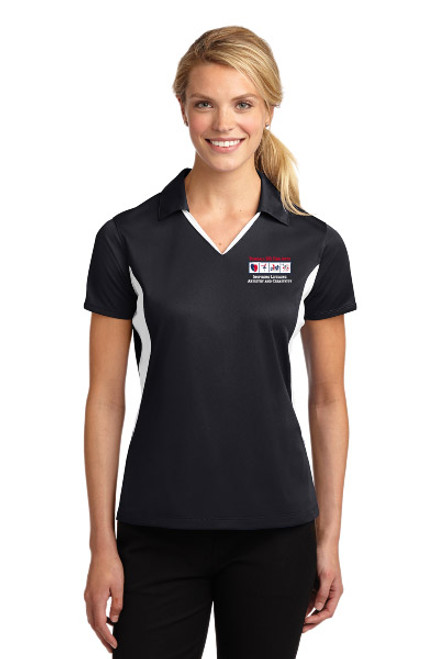 Sport-Tek® Ladies Side Blocked Micropique Sport-Wick® Polo (Black/White)