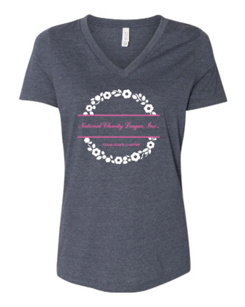 NCL Rose Heather Navy Ladies Relaxed Vneck