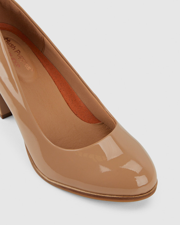 Hush Puppies Womens THE TALL PUMP Nude Patent