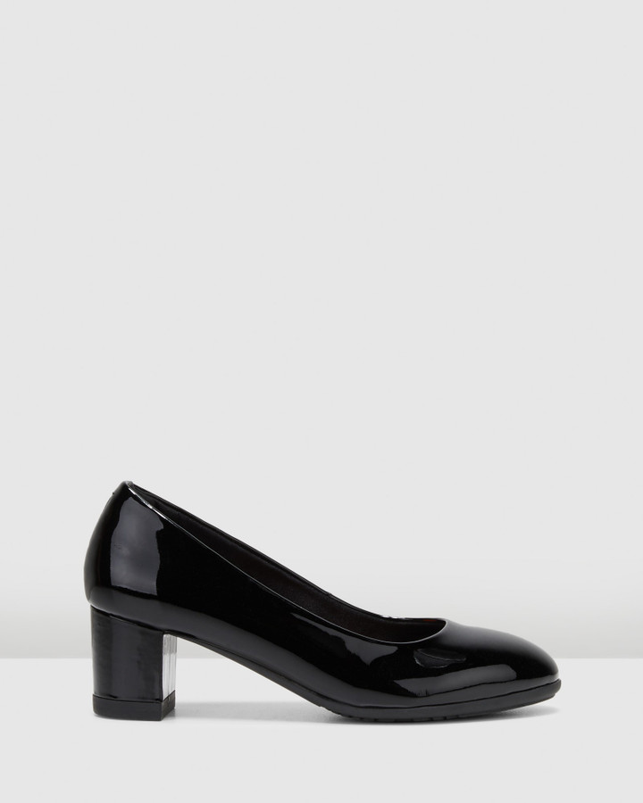 Hush Puppies The Block Heel Black Patent