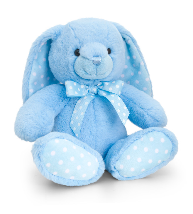 SNO785 25CM BABY SPOTTY RABBIT-BLUE