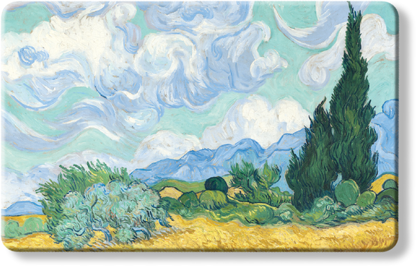 Wheatfields with Cypresses by Van Gogh - National Gallery London blocker card