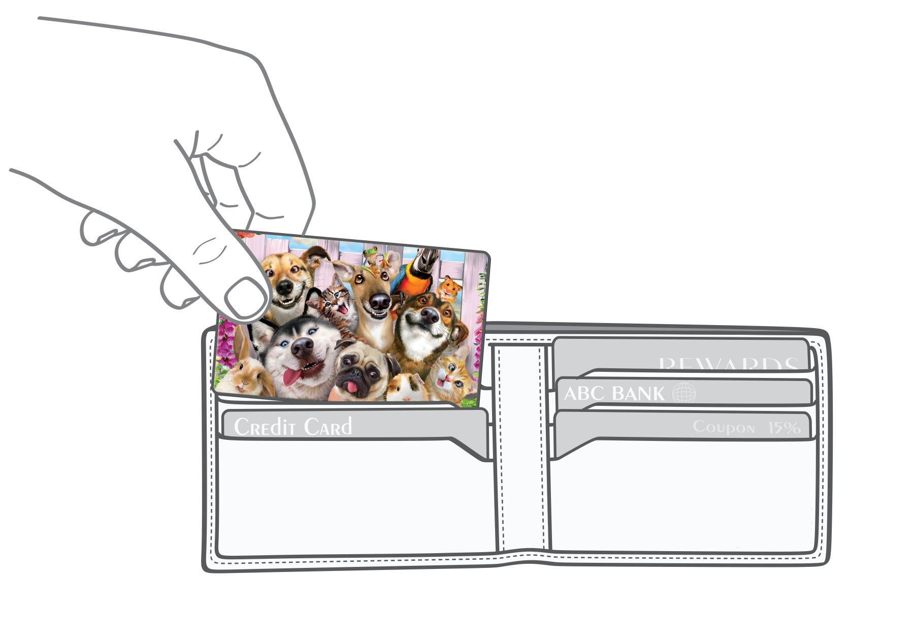 Pets selfies Myne Card going into a wallet