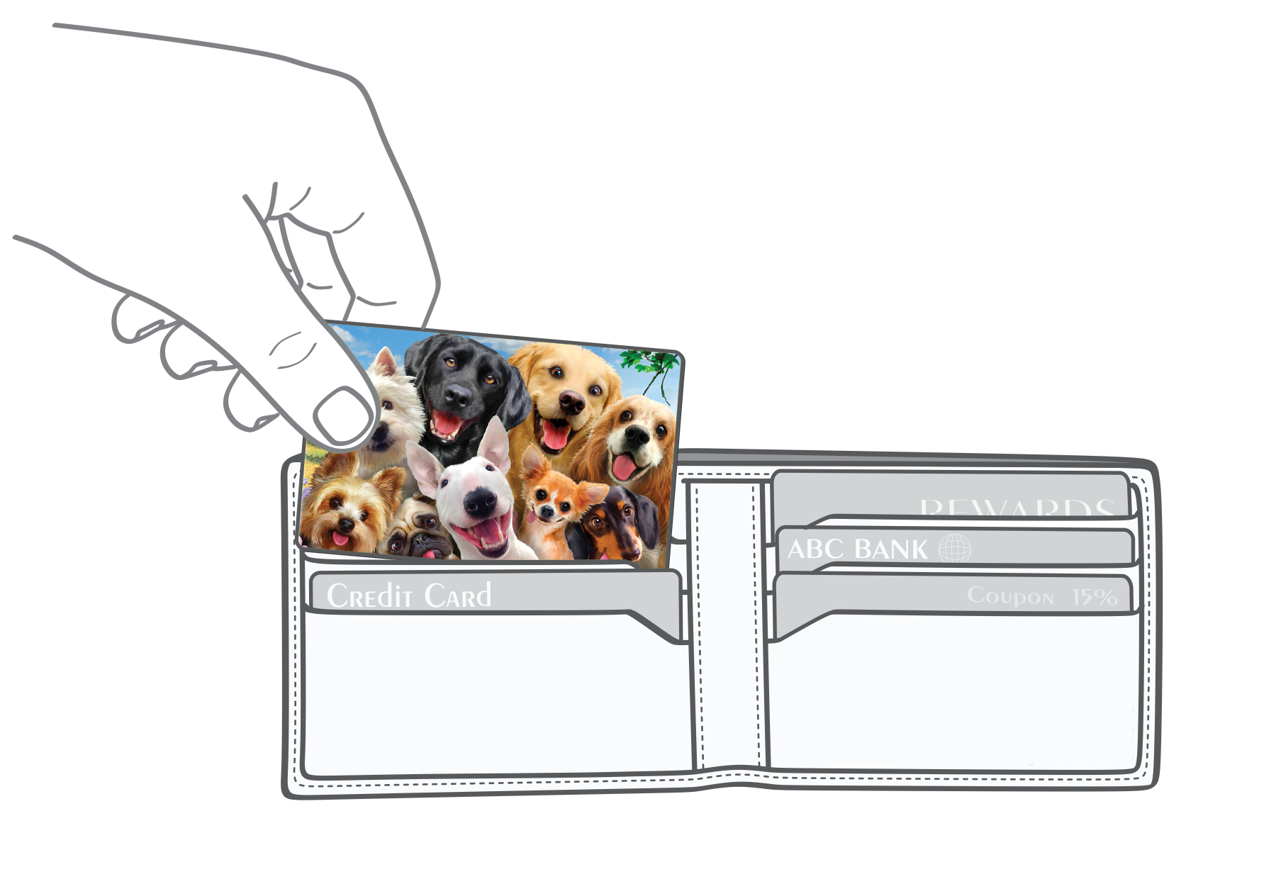 Dogs selfie Myne Card going into a wallet