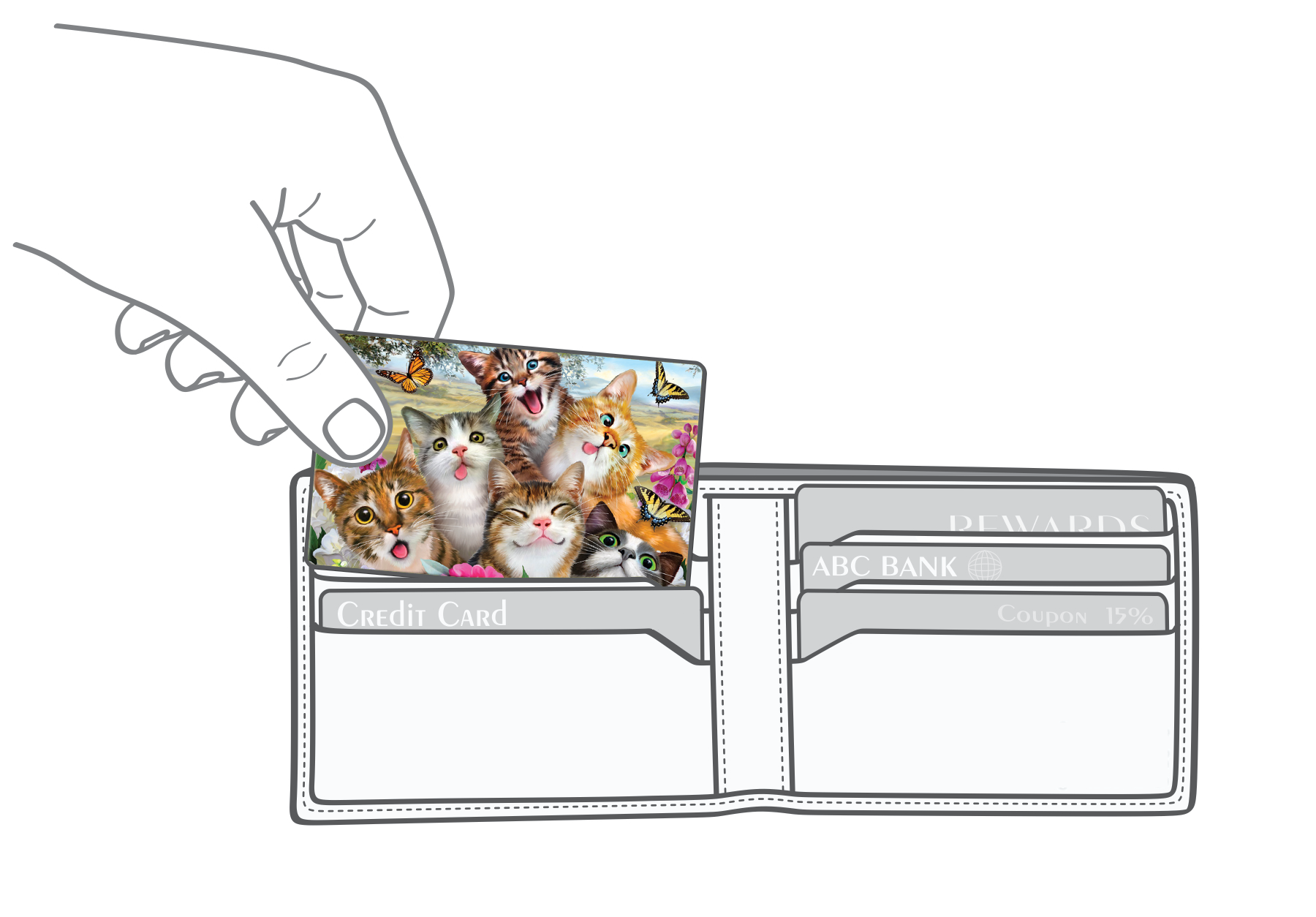 Cats selfie Myne Card going into a wallet