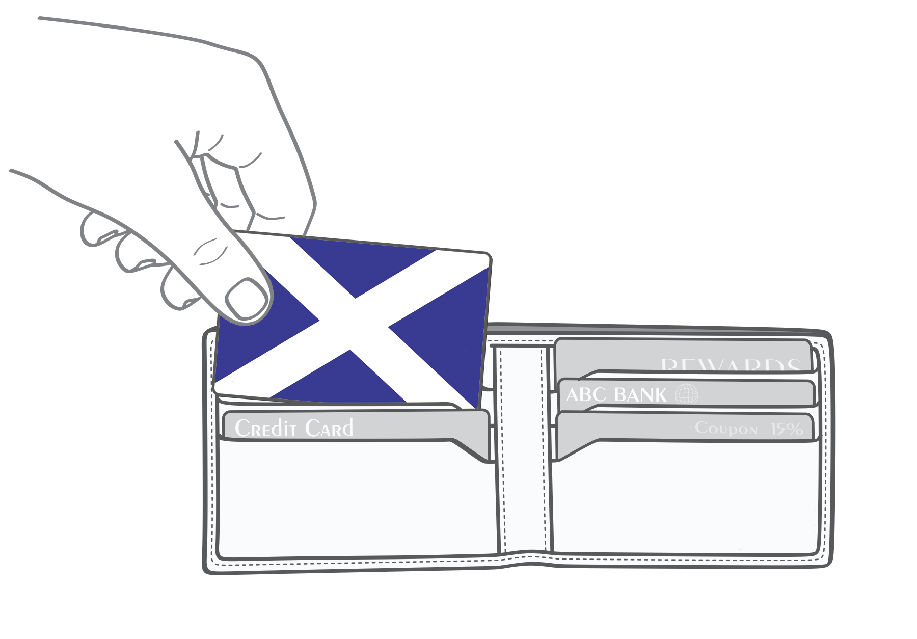 Scottish flag Myne Card going into a wallet
