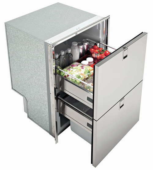 Isotherm Double Drawer 160 LIGHT REFRIGERATOR ONLY - 5.5 Cu. Ft. - Stainless Steel - 4 sided flush mount flange - AC/DC