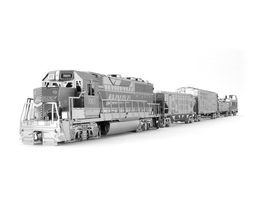 Metal Earth Freight Train Box Gift Set 3D Metal  Model + Tweezer 33717