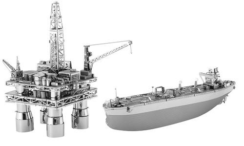 Metal Earth OffShore Oil Rig & Tanker Box Set 3D Metal  Model + Tweezer 33786