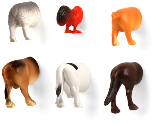 Farm Animal Butt Magnets Kikkerland 055667
