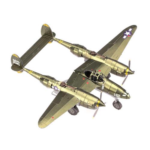 Metal Earth Iconx P-38 Lightning 3D Model  + Tweezers 14365