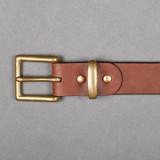 """Iron Heart Heavy Duty """"Tochigi"""" Leather Belt - Brass Buckle - Brown"""