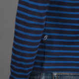 Pure Blue Japan Hemp Blend Border L/S T Shirt - Indigo/Blue