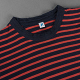 Pure Blue Japan Hemp Blend Border L/S T Shirt - Indigo/Red
