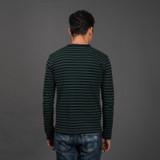 Pure Blue Japan Hemp Blend Border L/S T Shirt - Indigo/Green