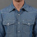 Iron Heart Indigo 5 oz Cotton/Linen Chambray Western Shirt