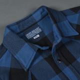 Iron Heart 9 oz Selvedge Flannel Check Western Shirt – Indigo/Dark Indigo