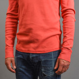 Berry On The Drums - Tubular Long Sleeve Henley - Coral