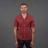 Momotaro 06-086 Cotton/Linen Open Collar shirt - Red