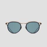 Matsuda M3093 Oval Brushed Gold Navy Sunglasses