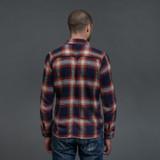 Pure Blue Japan Check Flannel Work Shirt - Indigo x Red
