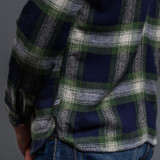 Pure Blue Japan Check Flannel Work Shirt - Indigo x Green