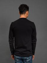 Merz b. Schwanen 2 Thread 216LS Heavyweight Organic LS Mock Neck T Shirt - Deep Black