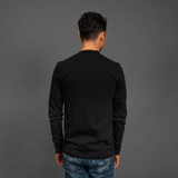 Merz b. Schwanen 2 Thread 216LS Heavyweight Organic LS Mock Neck T Shirt - Deep Black