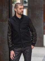 Dehen Leather & Wool Varsity Jacket - Navy/Black