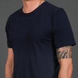 Merz b. Schwanen 2 Thread 214 Heavyweight Organic T Shirt - Ink Blue