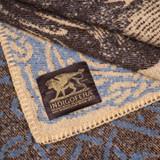 Indigofera 100% Wool  Gryphon Blanket - Grey x Blue